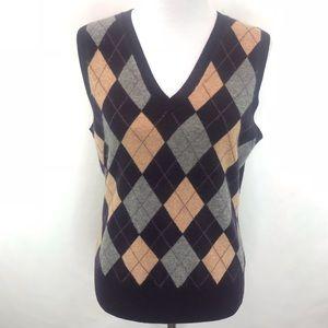 Tweeds 100% Cashmere Argyle Brown Grey Vest Large